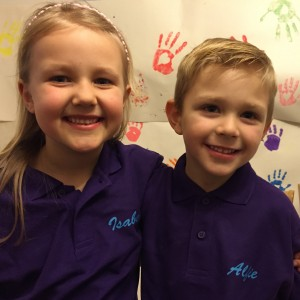 The real founders of Just Crafty, Isabelle and Alfie.